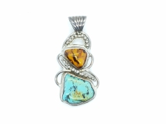 Turquoise & Amber Pendant